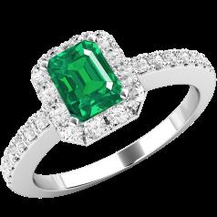 Inel cu Smarald si Diamant Dama Aur Alb 18kt cu un Smarald Taietura Smarald si Diamante Rotund Briliant Toate in Setare Gheare
