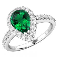 RDM620W-Inel cu Samarald si Diamant Dama Aur Alb 18kt cu un Smarald in Centru in Forma Para si 30 Diamante Mici Rotunde Brilliant