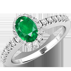 Inel Smarald si Diamante Dama Aur Alb 18kt cu un Smarald Oval si Diamante Rotunde