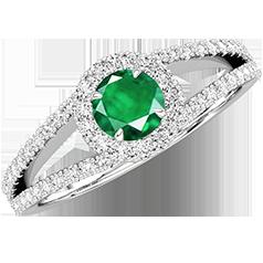 RDM667W-Inel cu Smarald si Diamante Dama Aur Alb 18kt cu un Smarald Rotund Briliant Central si Diamante Mici pe Laterale