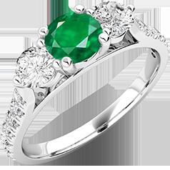 RDM681W-Inel cu Smarald si Diamant Dama Aur Alb 18kt cu un Smarald Rotund in Centru si Diamante Rotund Briliant pe Margini,Diamante Mici pe Lateral