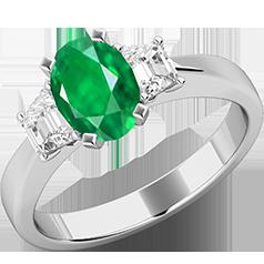 RDM714W-Inel cu Smarald si Diamante Dama Aur Alb 18kt cu un Smarald Central Forma Ovala si Doua Diamante in Forma de Trapez