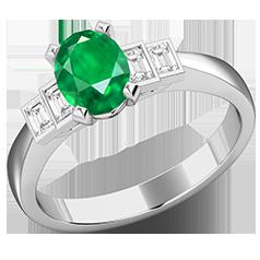 RDM718W-Inel cu Smarald si Diamante Dama Aur Alb 18kt cu 4 Diamante, cu un Smarald Central Oval si Diamante Forma Bagheta pe Margini