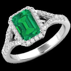 RDM737W -Inel Smarald cu Diamante Dama Aur Alb 18kt cu un Smarald Central Forma Smarald si Diamante Rotunde Briliant Imprejur,Design Clasic si Elegntă Pură