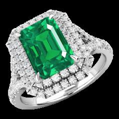 RDM742W-Inel cu Smarald si Diamante Dama Aur Alb 18kt cu un Smarald Central Taietura Smarald si Diamante Mici Rotund Briliant Imprejur si pe Lateral