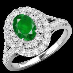 RDM762W-Inel Cocktail/Inel cu Smarald si Diamante Dama Aur Alb 18kt cu un Smarald Central Oval si Diamante Mici Rotund Briliant