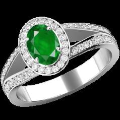 RDM774W-Inel cu Smarald si Diamante Dama Aur Alb 18kt cu un Smarald Central Oval si Diamante Mici Rotund Briliant Imprejur si pe Margini