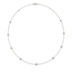 Diamond Necklace in 18ct White Gold with Thirty-Two Round Brilliant Cut Diamonds and a Single 10mm Pearl