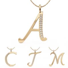 Pandantiv Uimitor cu Initiale,Aur Galben de 9kt,Compus din 11 Diamante Rotunde Mici,Setare in Gheare
