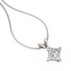 Pandantiv cu Diamant Solitaire Aur Alb 18kt cu Diamant Princess in Setare cu 4 Gheare