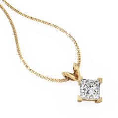 Pandantiv cu Diamant Solitaire Aur Galben 18kt cu Diamant Princess in Setare cu 4 Gheare