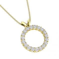 Pandantiv cu Mai Multe Diamante Aur Galben 18kt cu 19 Diamante Rotund Briliant Formand un Cerc Complet
