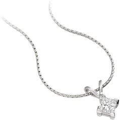 Single Stone Diamond Pendant in 18ct White Gold with a Princess Cut Diamond in a 4-Claw Setting and an 18 inch chain