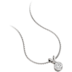 Single Stone Diamond Pendant in 9ct White Gold with a Round Brilliant Diamond in a Rub-Over Setting and an 18 inch chain