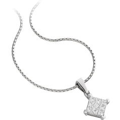 Multi-Stone Diamond Pendant in 18ct White Gold with Princess Cut Diamonds and an 18 Inch Chain