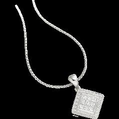 Diamant-Anhänger in 18kt Weißgold mit Princess und runden Brillantschliff Diamanten und 45cm Kette
