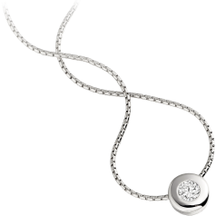 Single Stone Diamond Pendant in 18ct White Gold with a Round Brilliant Cut Diamond in a Rub-Over Setting and an 18 inch chain