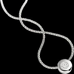 Pandantiv cu Diamant Solitaire Aur Alb 18kt cu Diamant Rotund Briliant in Setare Rub-Over si Lantisor Aur Alb 18kt de 45cm in Oferta