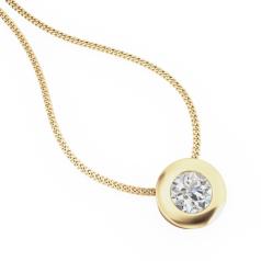Pandantiv cu Diamant Solitaire Aur Galben 18kt cu Diamant Rotund Briliant in Setare Rub-Over si Lantisor Aur Galben 18kt de 45cm