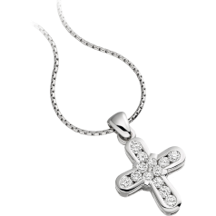 RDP023W - 18ct white gold cross pendant and 18 inch chain with round brilliant cut diamonds