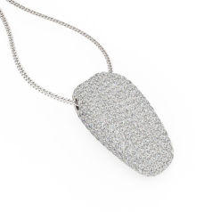 Multi-Stone Diamond Pendant in 18ct White Gold with Round Brilliant Cut Diamonds in a Pave Setting & 18 Inch Chain