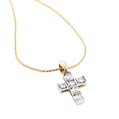 Pandantiv Cruce din Aur Alb & Aur Galben 18kt cu Diamante Rotunde Briliant si Lantisor din Aur Galben 18kt in Stoc