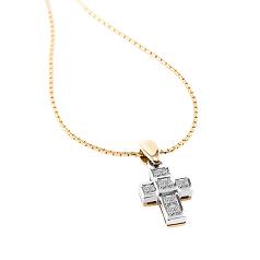 Pandantiv Cruce din Aur Alb & Aur Galben 18kt cu Mai Multe Diamante si Lantisor din Aur Galben 18kt in Stoc
