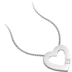 Single Stone Diamond Heart Pendant in 18ct White Gold with a Princess Cut Diamond and an 18 inch chain