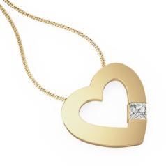 Pandantiv cu Diamant Solitaire Aur Galben 18kt cu Diamant Princess in Setare cu 4 Gheare in Forma de Inima si Lantisor de 45cm