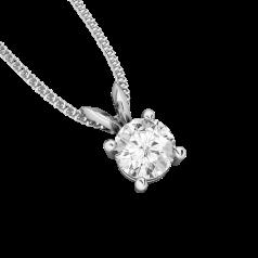 Pandantiv Elegant Aur Alb 18kt cu Diamant Rotund Briliant in Setare cu 4 Gheare si Lantisor in Stoc