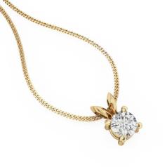Pandantiv Elegant Aur Galben 18kt cu Diamant Rotund Briliant in Setare cu 4 Gheare si Lantisor