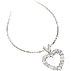 RDP040W - 18ct white gold heart pendant and 18 inch chain with round brilliant cut diamonds in a claw setting