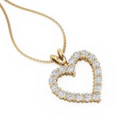 Pandantiv cu Mai Multe Diamante Aur Galben 18kt cu Diamante Rotund Briliant Asezate in Forma de Inima si Lantisor de 45cm