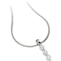 Multi-Stone Diamond Pendant in 9ct White Gold with 3 Round Brilliant Cut Diamonds and an 18 Inch Chain