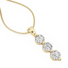 Pandantiv cu Mai Multe Diamante Aur Galben 18kt cu 3 Diamante Rotund Briliant si Lantisor de 45cm