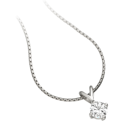 Single Stone Diamond Pendant in 9ct White Gold with a Round Brilliant Cut Diamond in a 4-Claw Setting and an 18 inch chain