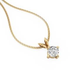 Pandantiv cu Diamant Solitaire Aur Galben 18kt cu Diamant Rotund Briliant in Setare cu 4 Gheare si Lantisor Aur Galben 18kt de 45cm