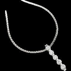 Diamant-Anhänger in 9kt Weißgold mit 5 runden Brillanten und 45cm Kette