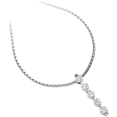 Multi-Stone Diamond Pendant in 18ct White Gold with Five Round Brilliant Cut Diamonds and an 18 Inch Chain