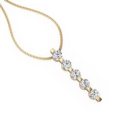 Pandantiv cu Mai Multe Diamante Aur Galben 18kt cu Cinci Diamante Rotund Briliant si Lantisor de 45cm