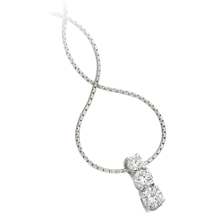 Multi-Stone Diamond Pendant in 18ct White Gold with Three Round Brilliant Cut Diamonds and an 18 Inch Chain