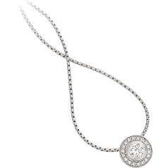 Diamond Pendant in 18ct White Gold with a Round Brilliant Diamond in a Rub-Over Setting in the Centre and Small Round Brilliant Cut Diamonds in Claw Setting & 18 inch chain