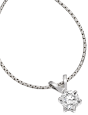 Single Stone Diamond Pendant in 9ct White Gold with a Round Brilliant Cut Diamond in a 6-Claw Setting and an 18 inch chain