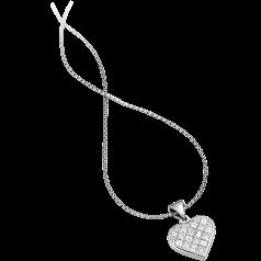 Pandantiv cu Mai Multe Diamante Aur Alb 18kt in Forma de Inima cu Diamante Princess si Forma Bagheta & Lantisor de 45cm