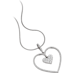 Multi-Stone Heart Diamond Pendant in 18ct White Gold with Princess & Round Brilliant Cut Diamonds and an 18 Inch Chain