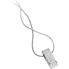 Multi-Stone Diamond Pendant in 18ct White Gold with Princess Cut Diamonds & 18 Inch Chain