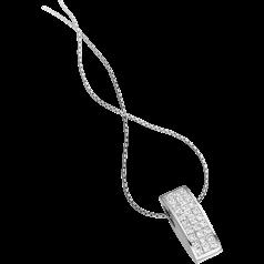 Diamant-Anhänger in 18kt Weißgold mit Princess Schliff Diamanten in Unsichtbarer Fassung und 45cm Kette