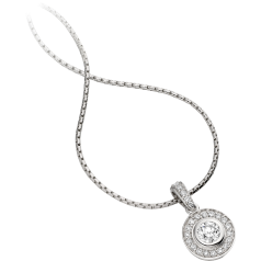 Diamond Pendant in 18ct White Gold with Round Brilliant Cut Diamonds and an 18 inch chain