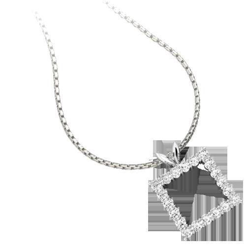 Pandantiv cu Mai Multe Diamante din Aur Alb 18kt cu Diamante Rotunde Briliant
