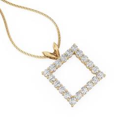 Pandantiv cu Mai Multe Diamante din Aur Galben 18kt cu Diamante Rotunde Briliant